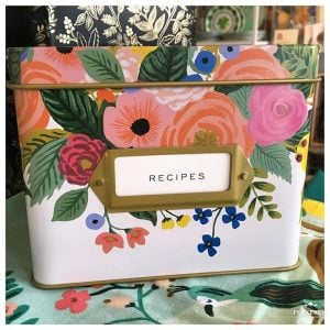 We stock pretty recipe tins from Rifle Paper Co